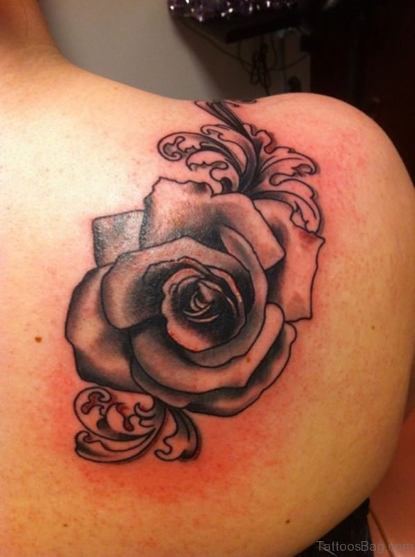 Grey Rose Tattoo On Back