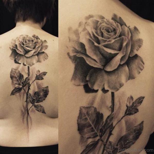 Grey Rose Tattoo On Back