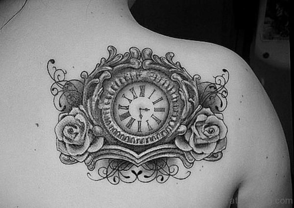 Grey Roses And Clock Tattoo On Right Back