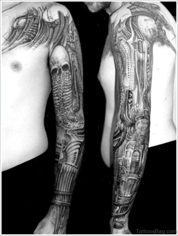 Grey Skull Mechanical  Tattoo