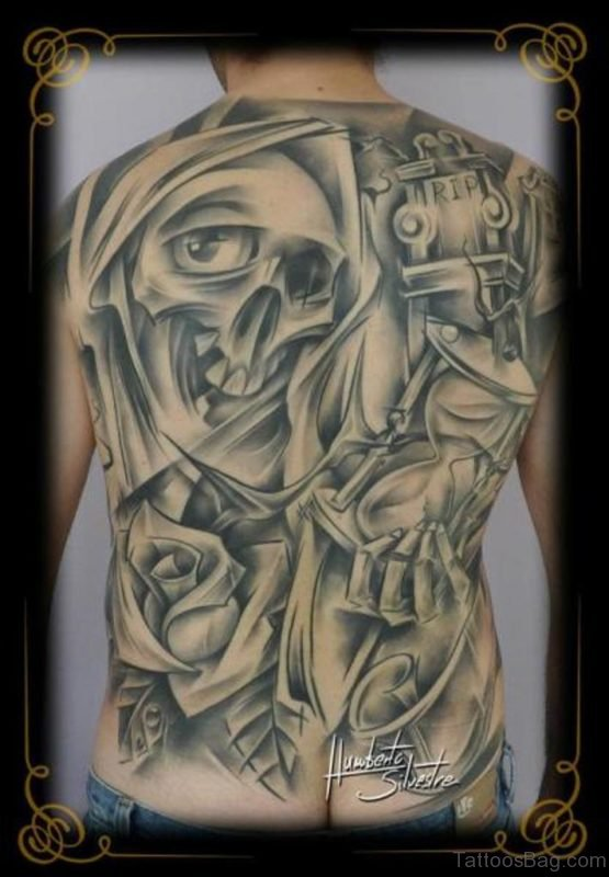 Grey Skull Tattoo Design