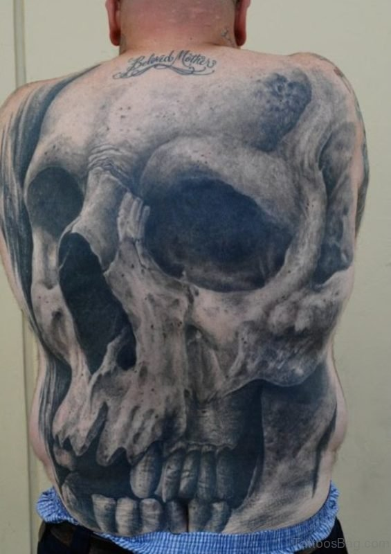 Grey Skull Tattoo On Back