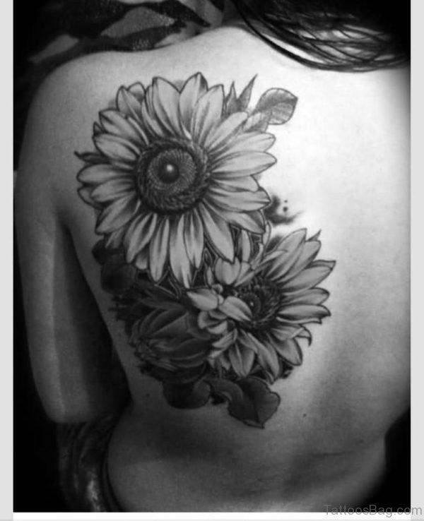 Grey Sunflower Tattoo On Left Back