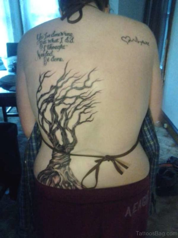 Grey Tree Tattoo On Back