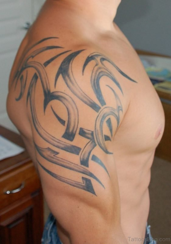 Grey Tribal Shoulder Tattoo For Men