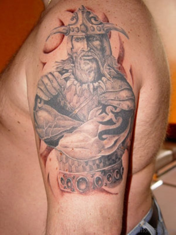 Grey Viking Shoulder Tattoo Design