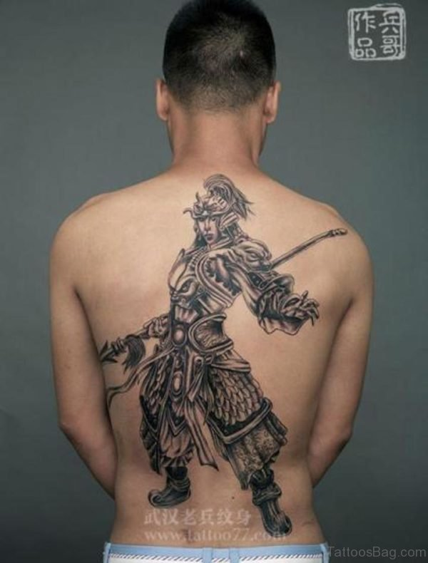 Grey Warrior Tattoo On Back