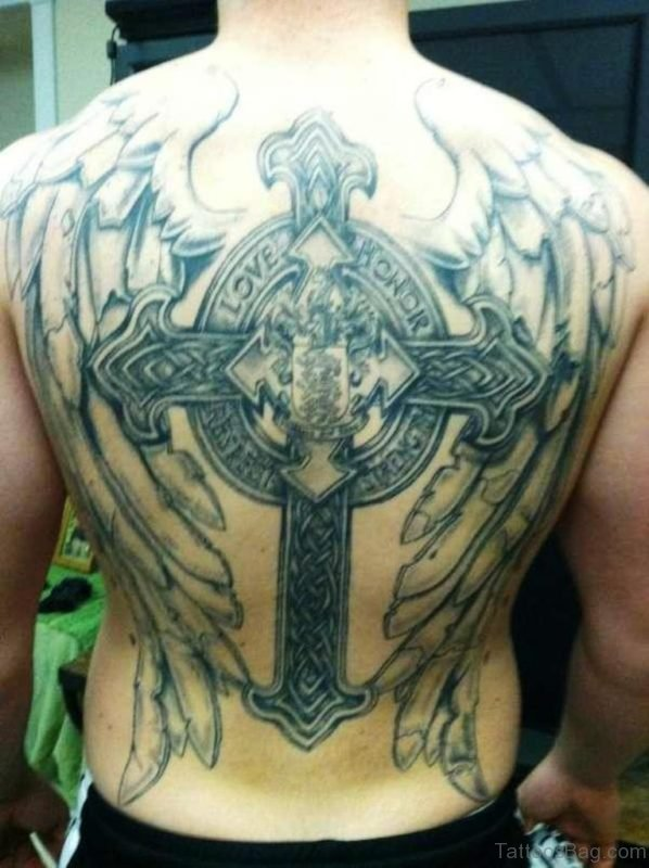 Grey Wings And Cross Tattoo