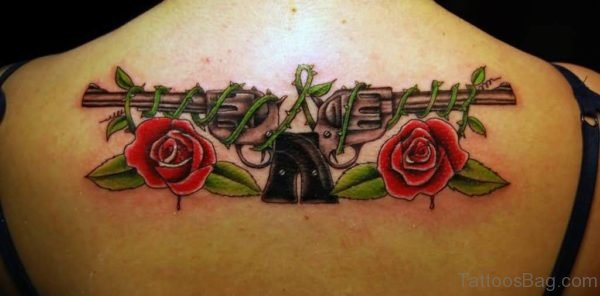 Gun  And  Roses Tattoo On Upper Back