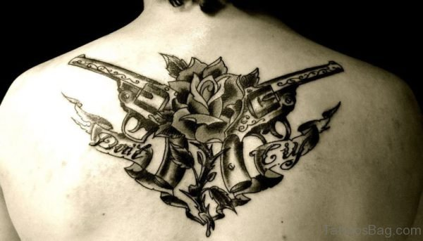 Gun Tattoo Design On Back