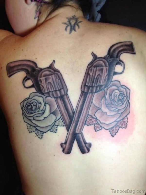 Guns And Rose Design On Upper Back