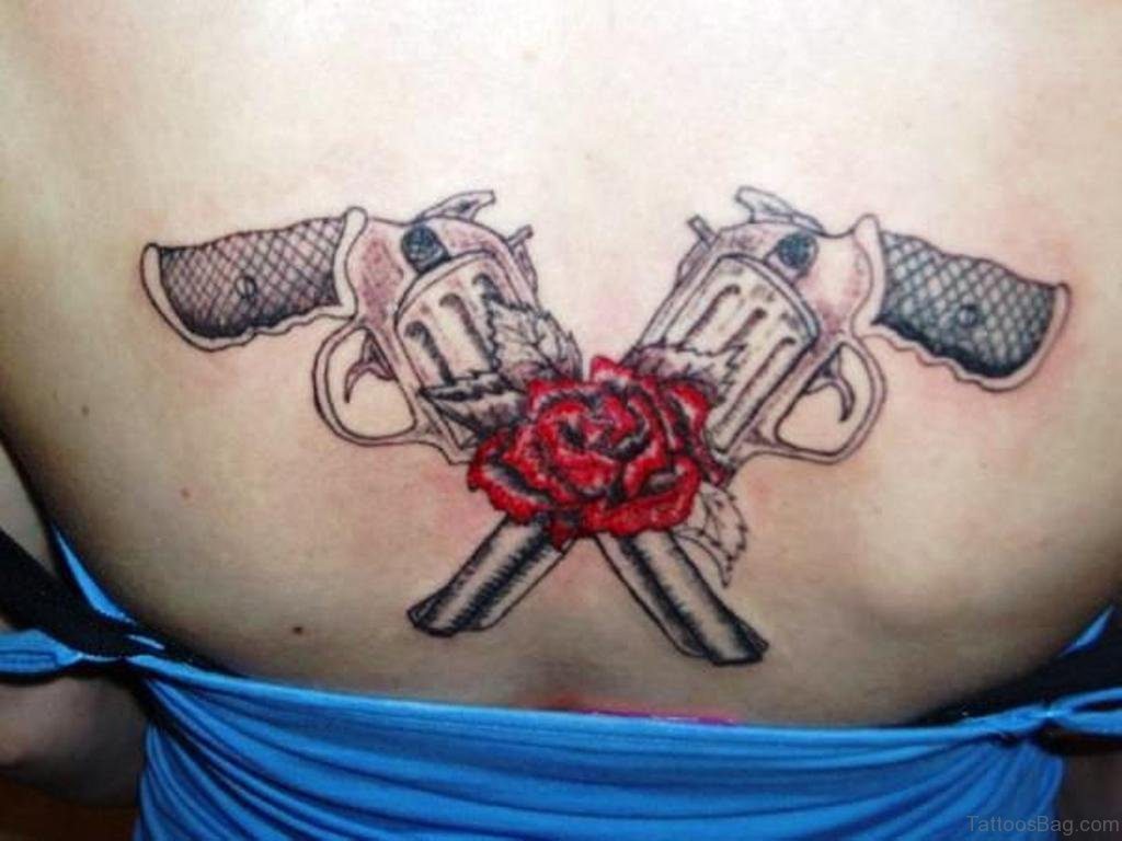 64 Ultra Modern Gun Tattoos For Back Cross With Wings And Heart Tattoo