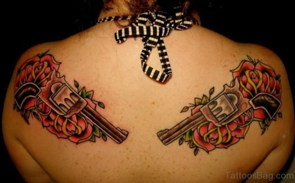Guns And Roses Tattoo On Back For Women