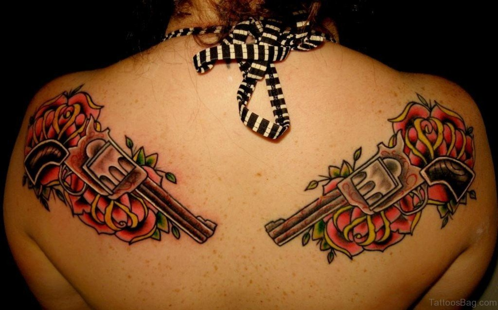 64 ultra modern gun tattoos for back for Gun tattoos for girls