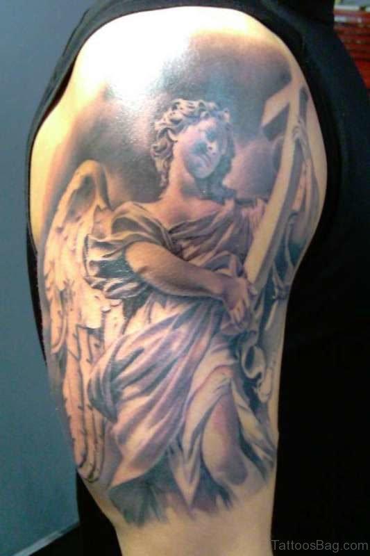 Half Sleeves Angel Shoulder Tattoo