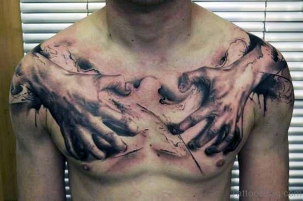 Hands Tattoo On Chest