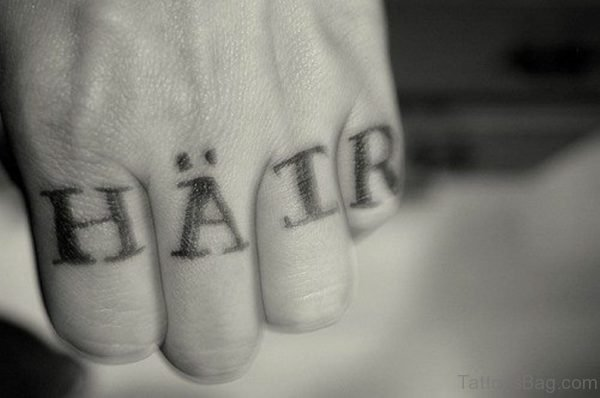Hatr Word Tattoo On knuckle