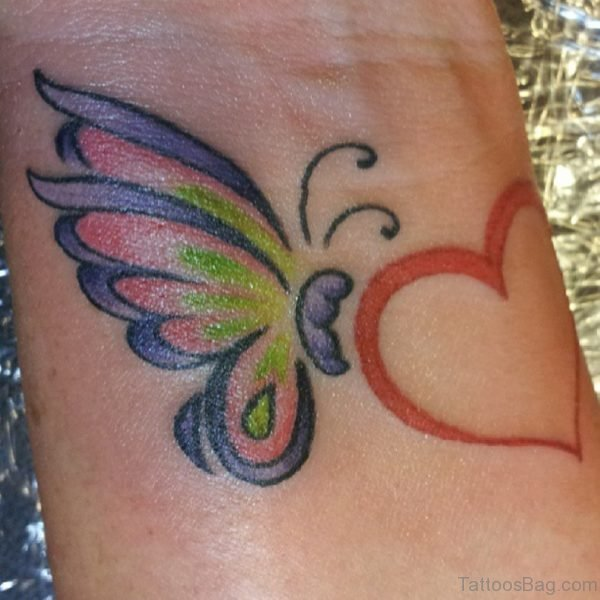Heart And Butterfly Tattoo