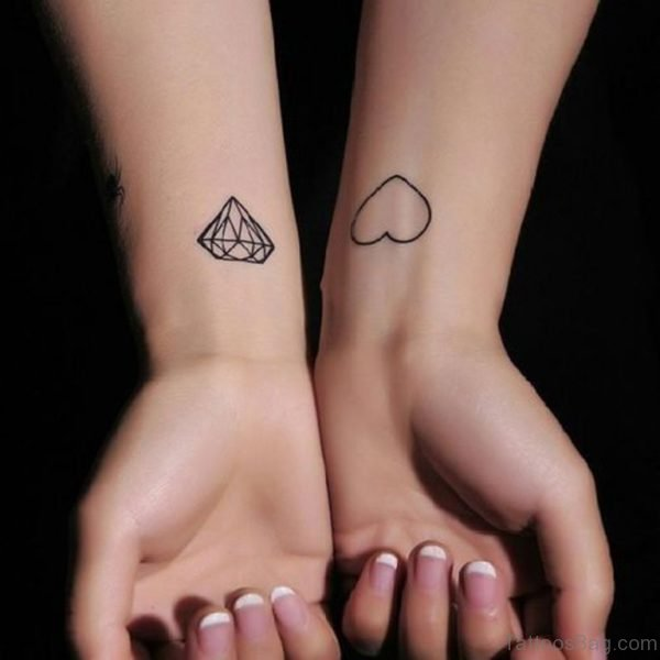 Heart And  Diamond Tattoo