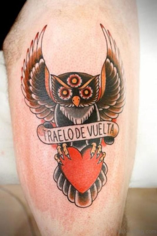 Heart And Owl Tattoo