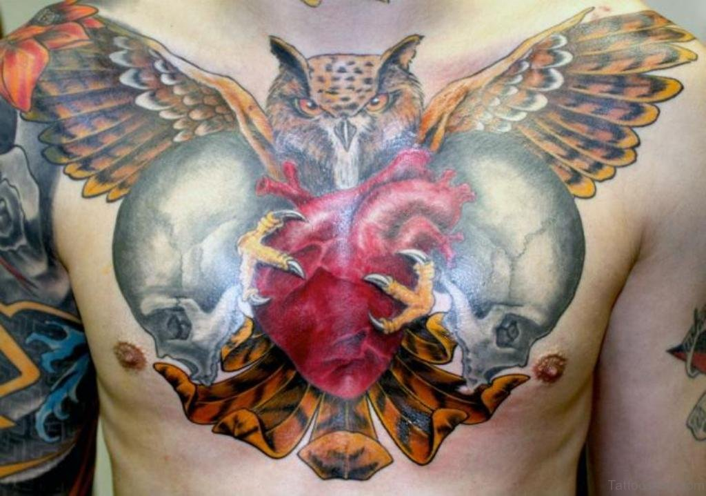 70 outstanding owl tattoos for chest for Owl heart tattoo