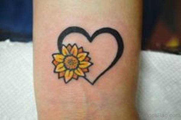 Heart And Sunflower Tattoo