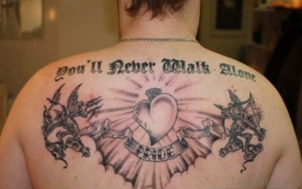 Heart And Wording Tattoo On Back