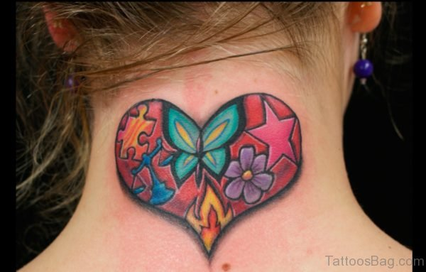 Heart Butterfly Tattoo On Neck