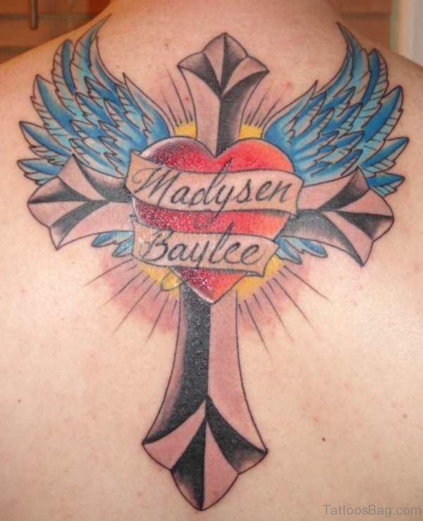 Heart Cross Wings Tattoo