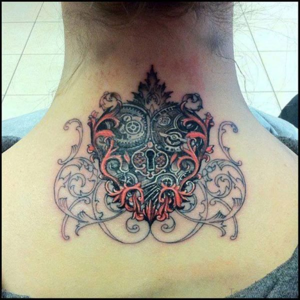 Heart Lock Neck Tattoo