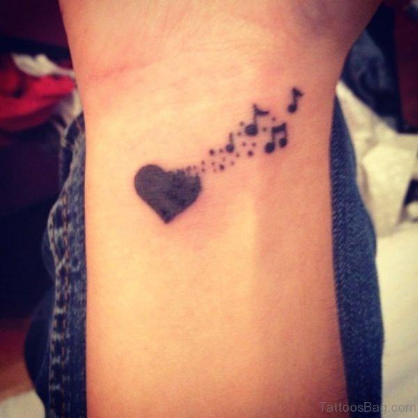 Heart Releasing Music Tattoo
