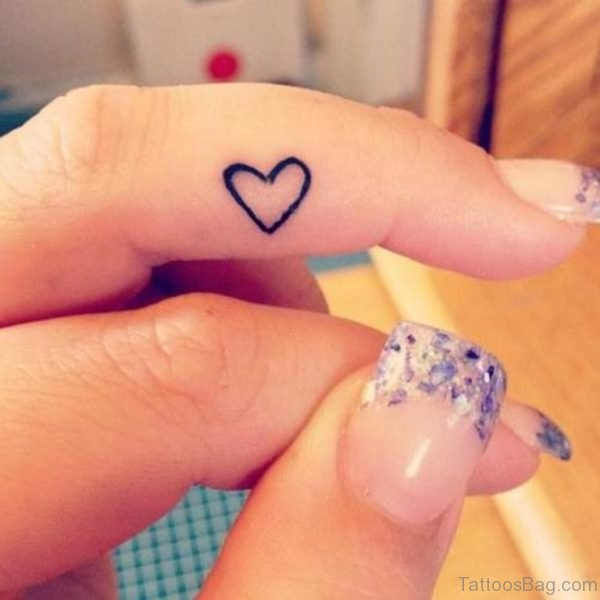 Heart Tattoo Design On Finger