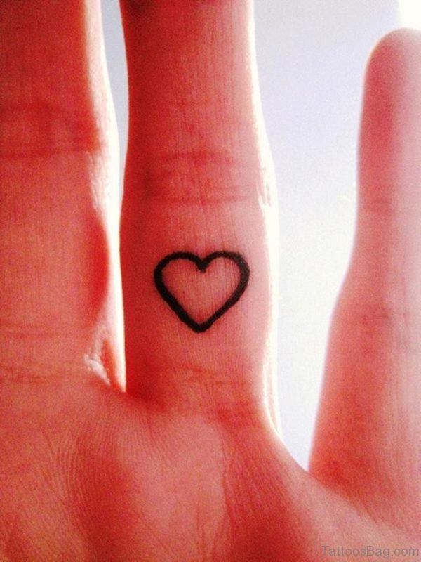 Heart Tattoo On Middle Finger