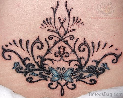 Henna And Butterfly Tattoo