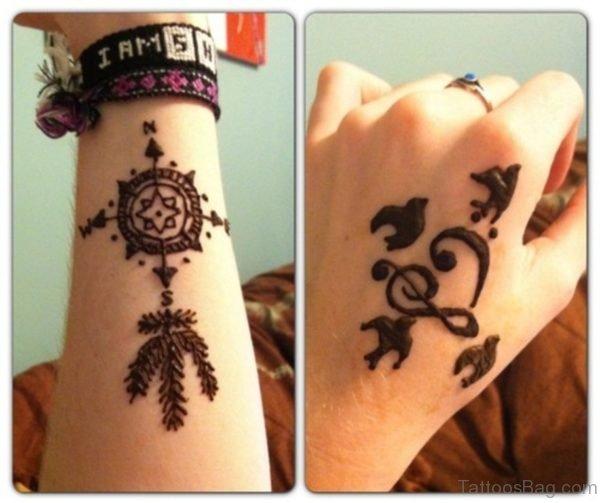 Henna Compass Tattoo