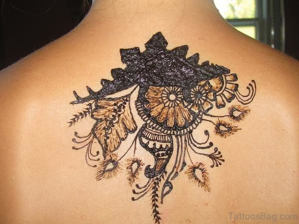 Henna Flower Tattoo On Back