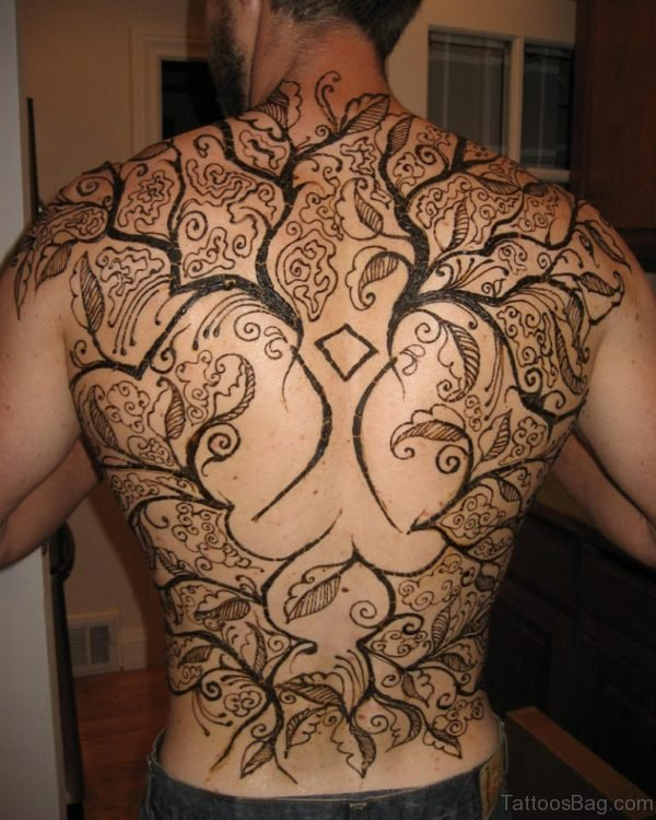 Henna Tree Tattoo On Back