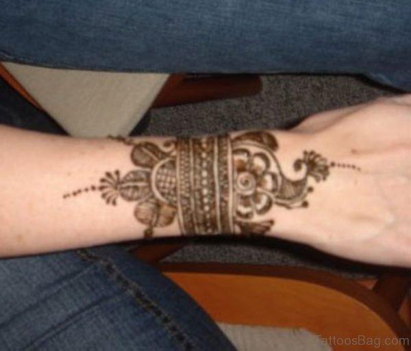 Henna Wrist Band Tattoo For Girls