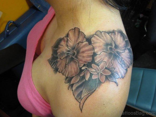 Hibiscus Flower Shoulder Tattoo