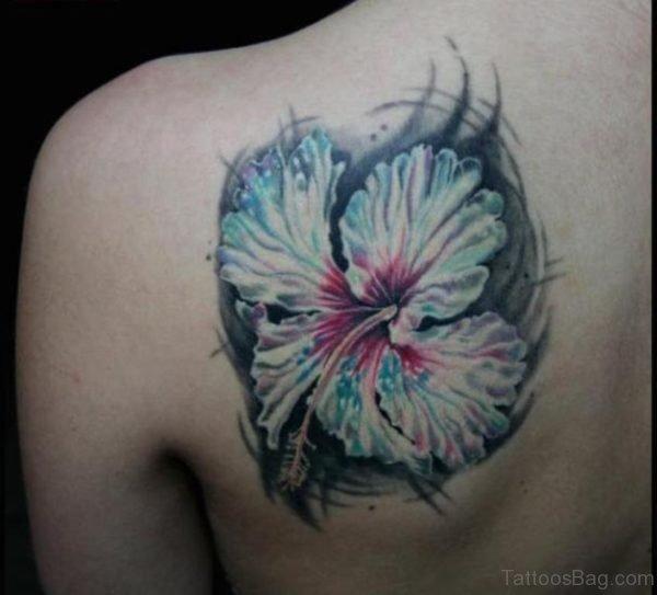 Hibiscus Flower Tattoo On Left Back Shoulder