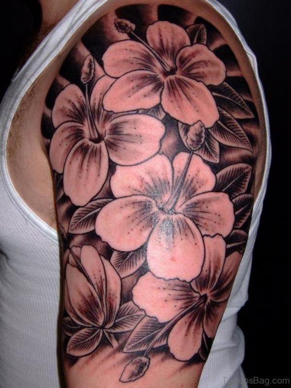 Hibiscus Flower Tattoo On Left Shoulder