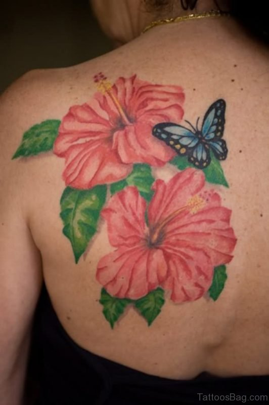 Hibiscus Flowers And Butterfly Tattoo On Back Shoulder