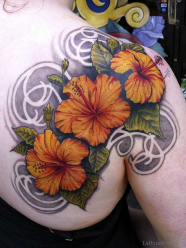 Hibiscus Flowers Tattoo On Right Shoulder