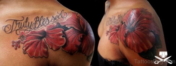 Hibiscus Shoulder Tattoo