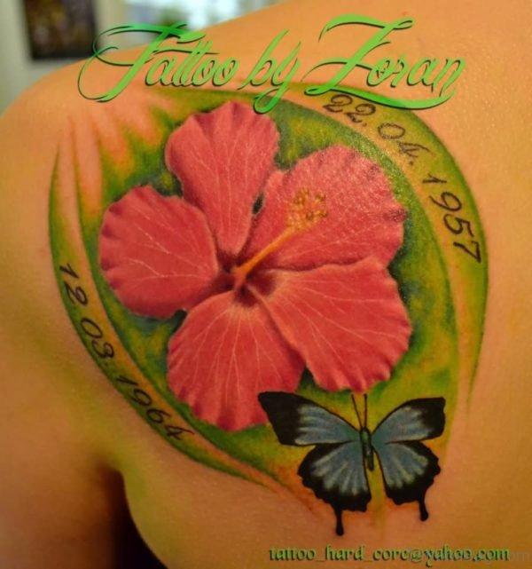 Hibiscus Tattoo On Back Shoulder