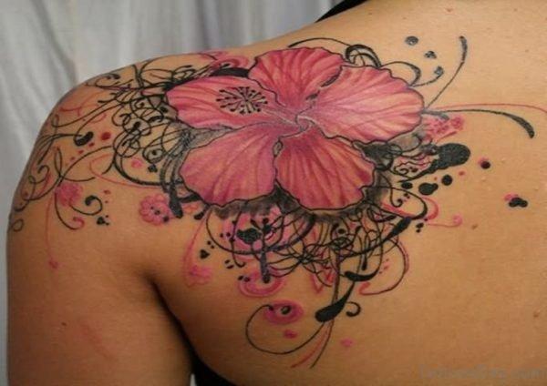 Hibiscus Tattoo On Left Back Shoulder