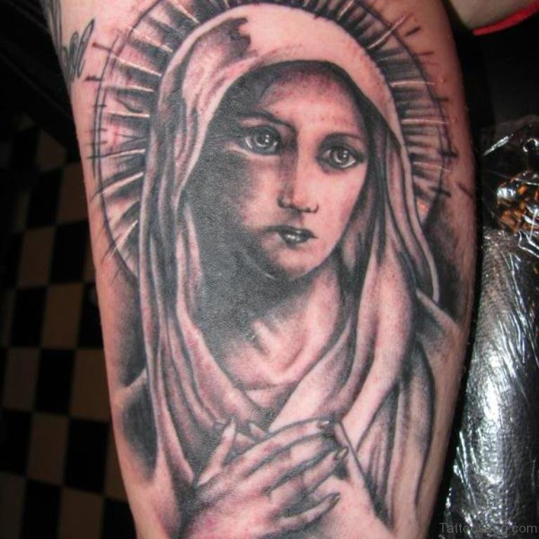 53 adorable virgin mary shoulder tattoos. Black Bedroom Furniture Sets. Home Design Ideas