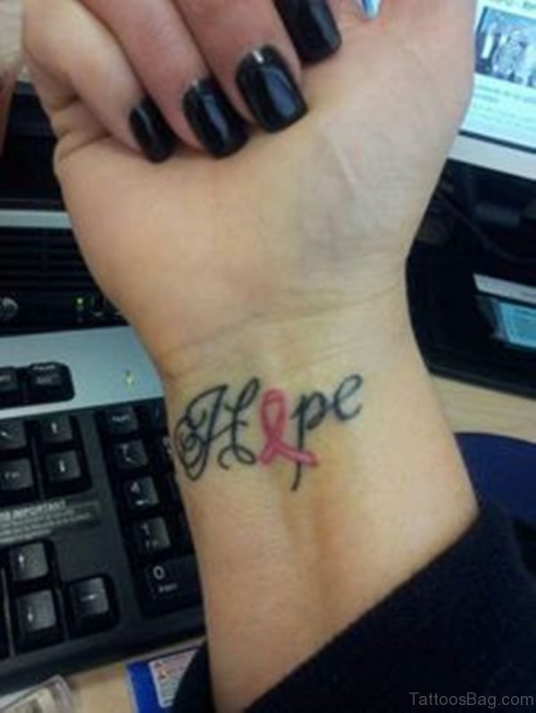 Hope Cancer Ribbon Tattoo On Wrist