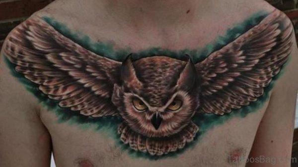 Horned Flying Owl Tattoo On Chest