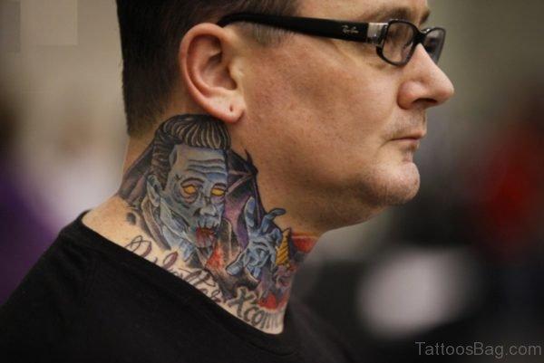 Horror Man Tattoo On Neck